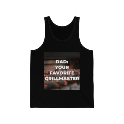 Dad, Your Favorite Grillmaster (Charcoal Background) Black Tank Top