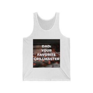 Dad, Your Favorite Grillmaster (Charcoal Background) White Tank Top
