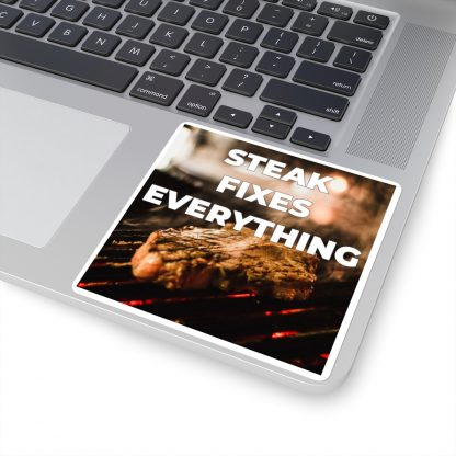 Steak Fixes Everything Sticker On Laptop