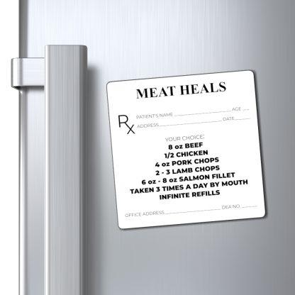 Meat Heals Magnet On Fridge