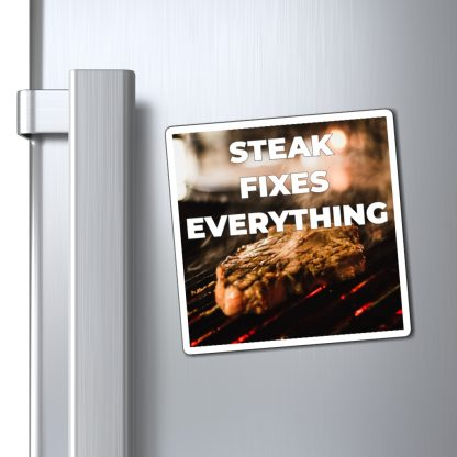 Steak Fixes Everything Magnet On Fridge