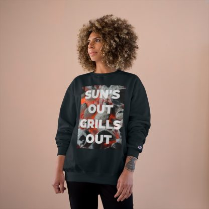 Sun's Out, Grills Out Black Sweatshirt Female Model