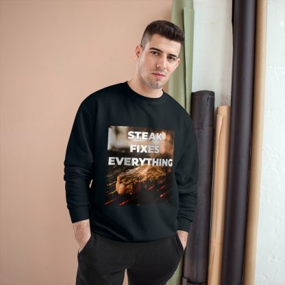 Steak Fixes Everything Black Sweatshirt Male Model