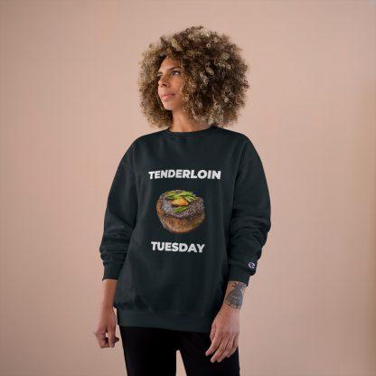 Tenderloin Tuesday Black Sweatshirt Female Model
