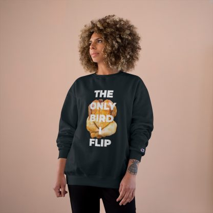 The Only Bird I Flip Black Sweatshirt Female Model