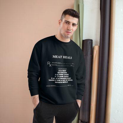 Meat Heals Black Sweatshirt Male Model