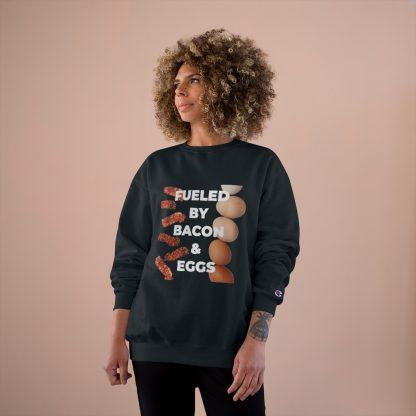 Fueled By Bacon & Eggs Black Sweatshirt Female Model