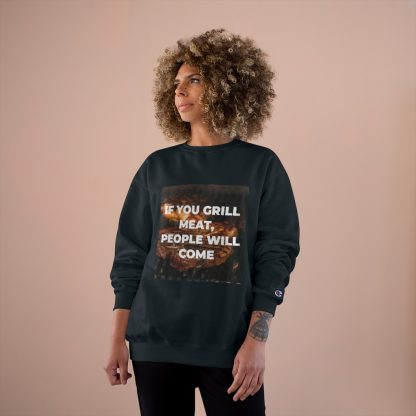 If You Grill Meat, People Will Come Black Sweatshirt Female Model