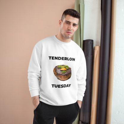 Tenderloin Tuesday White Sweatshirt Male Model