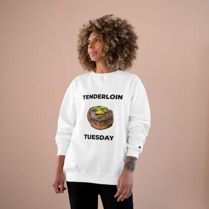 Tenderloin Tuesday White Sweatshirt Female Model