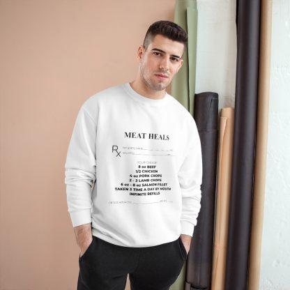 Meat Heals White Sweatshirt Male Model