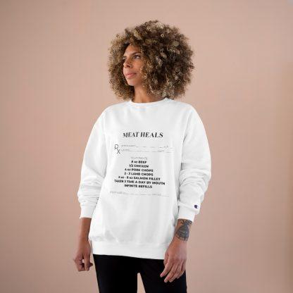 Meat Heals White Sweatshirt Female Model