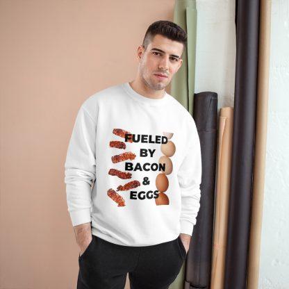 Fueled By Bacon & Eggs White Sweatshirt Male Model